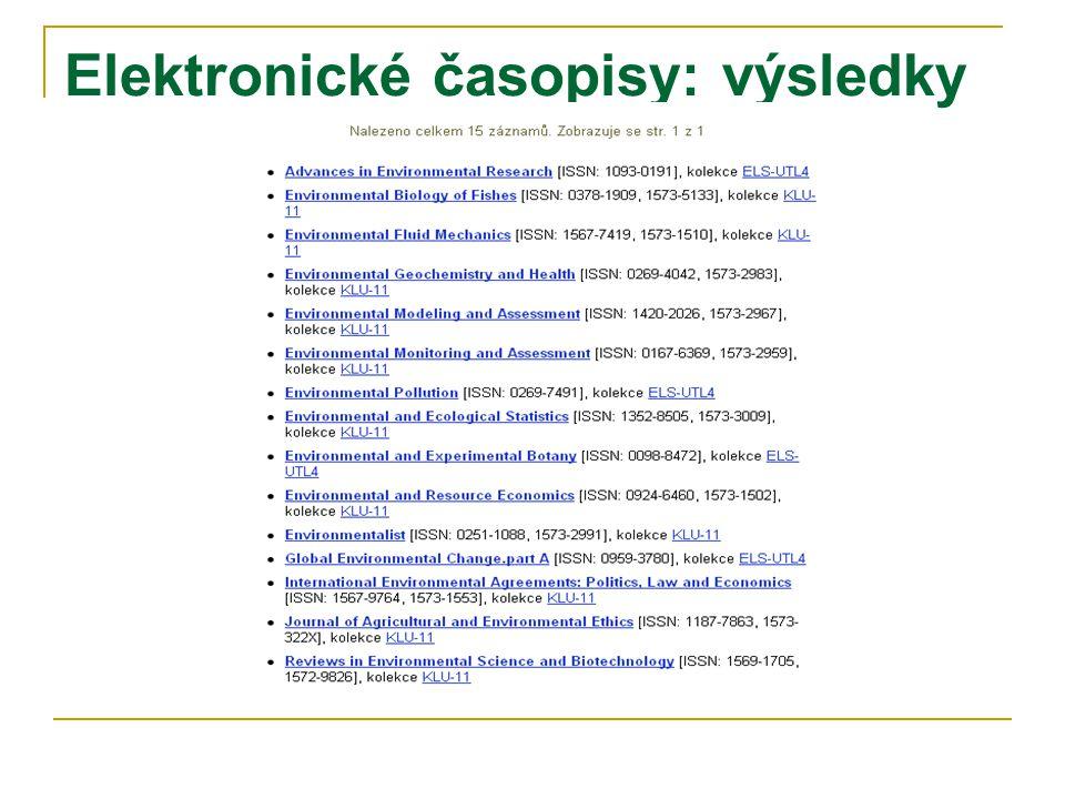 Elektronické časopisy: výsledky