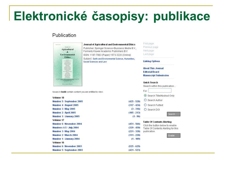 Elektronické časopisy: publikace