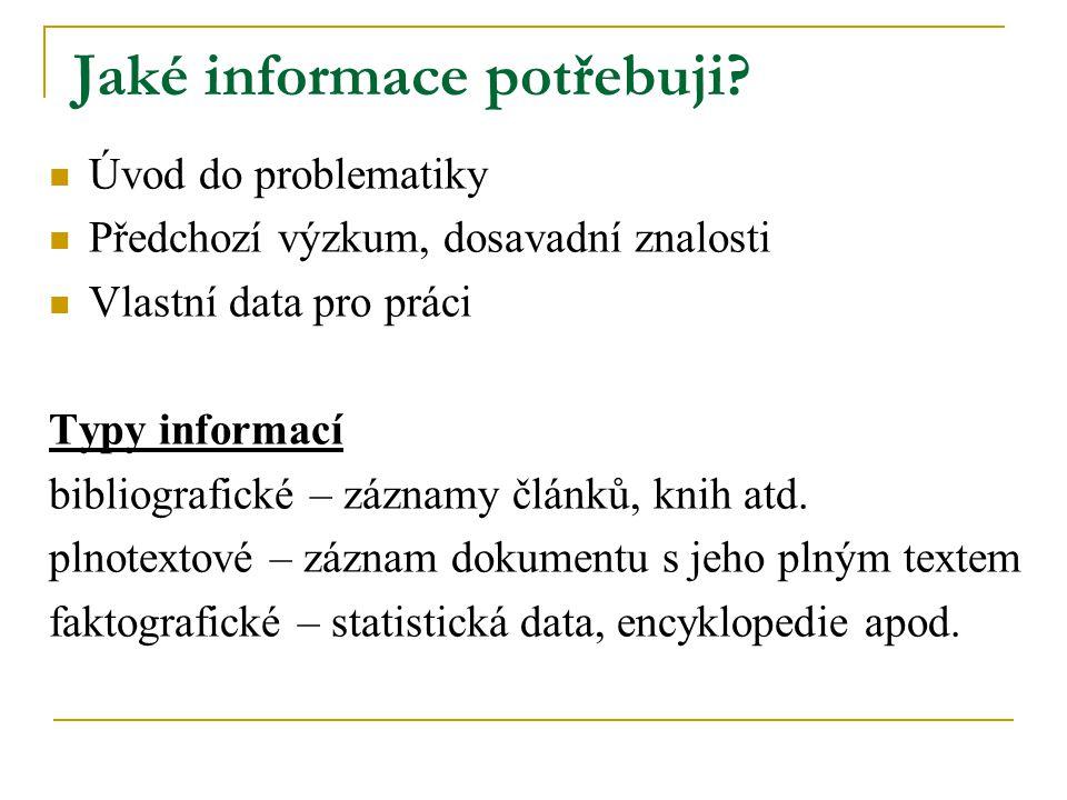 Jaké informace potřebuji? Úvod do problematiky Předchozí výzkum, dosavadní znalosti Vlastní data pro práci Typy informací bibliografické – záznamy člá