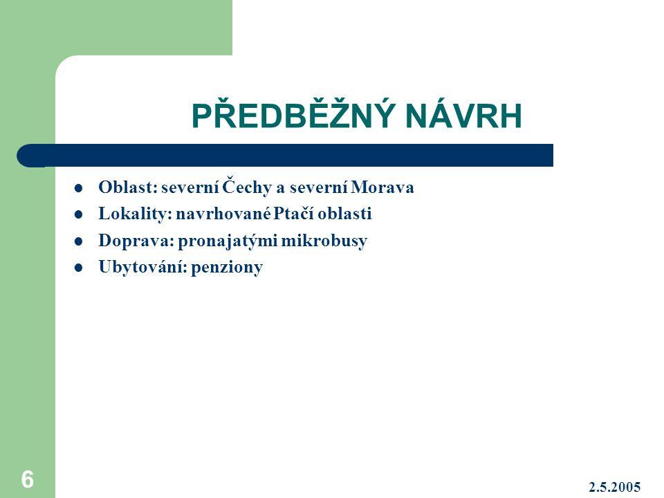 2.5.2005 7 Ptačí oblasti v České republice