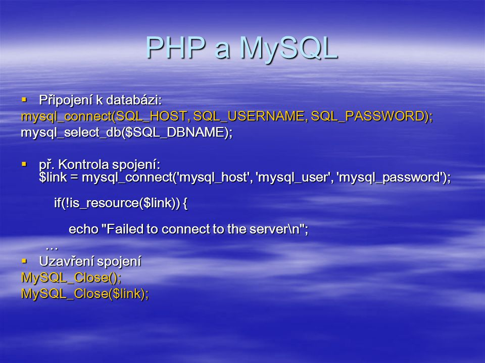Získání výsledků  získání pole, všech řádků $vysledek=mysql_query( select * from psc where psc= .$_POST[ psc ]); $vysledek = mysql_query($sql,$connection) or die ( Nemohu provést dotaz: .
