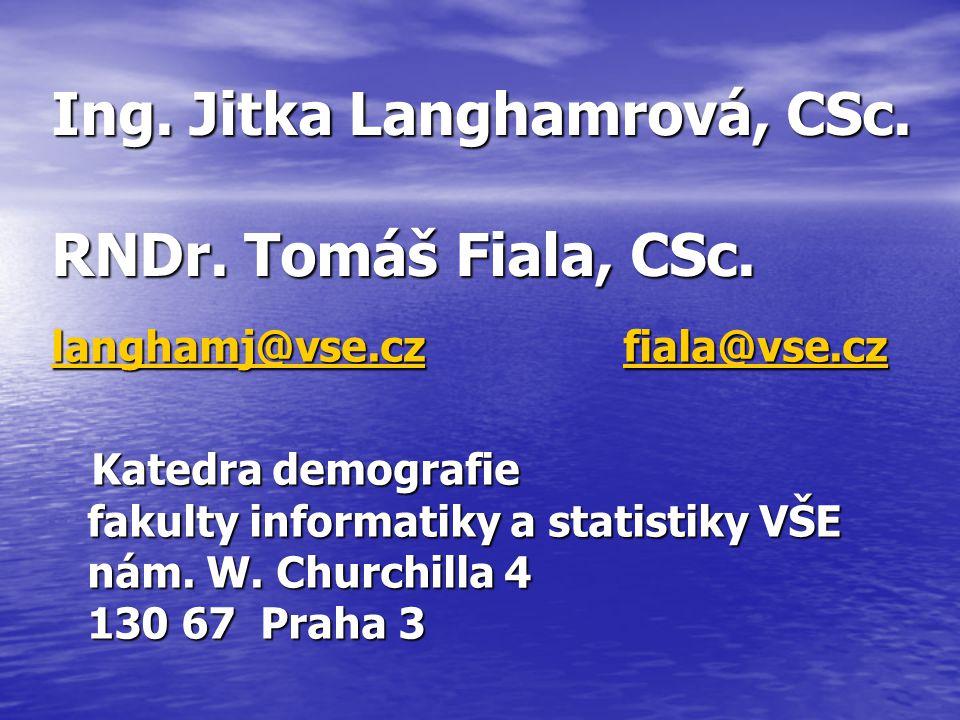 Ing. Jitka Langhamrová, CSc. RNDr. Tomáš Fiala, CSc.