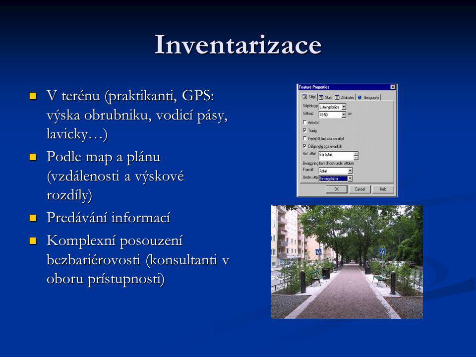 Inventarizace V terénu (praktikanti, GPS: výska obrubniku, vodicí pásy, lavicky…) V terénu (praktikanti, GPS: výska obrubniku, vodicí pásy, lavicky…)