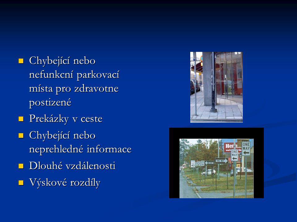 Chybející nebo nefunkcní parkovací místa pro zdravotne postizené Chybející nebo nefunkcní parkovací místa pro zdravotne postizené Prekázky v ceste Pre