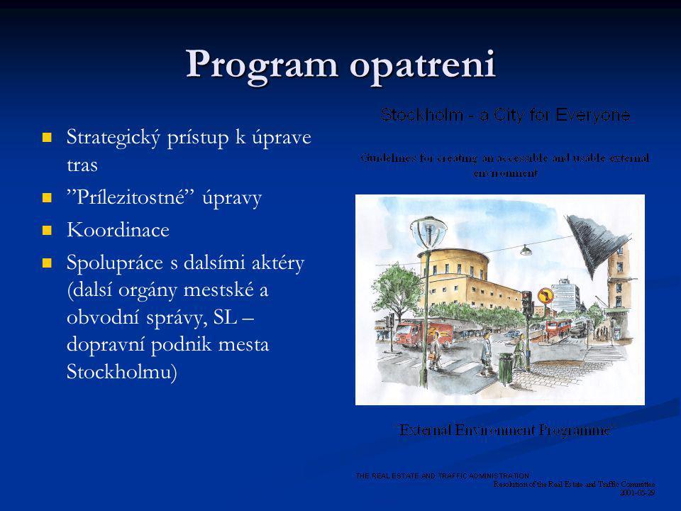 """Program opatreni Strategický prístup k úprave tras """"Prílezitostné"""" úpravy Koordinace Spolupráce s dalsími aktéry (dalsí orgány mestské a obvodní správ"""