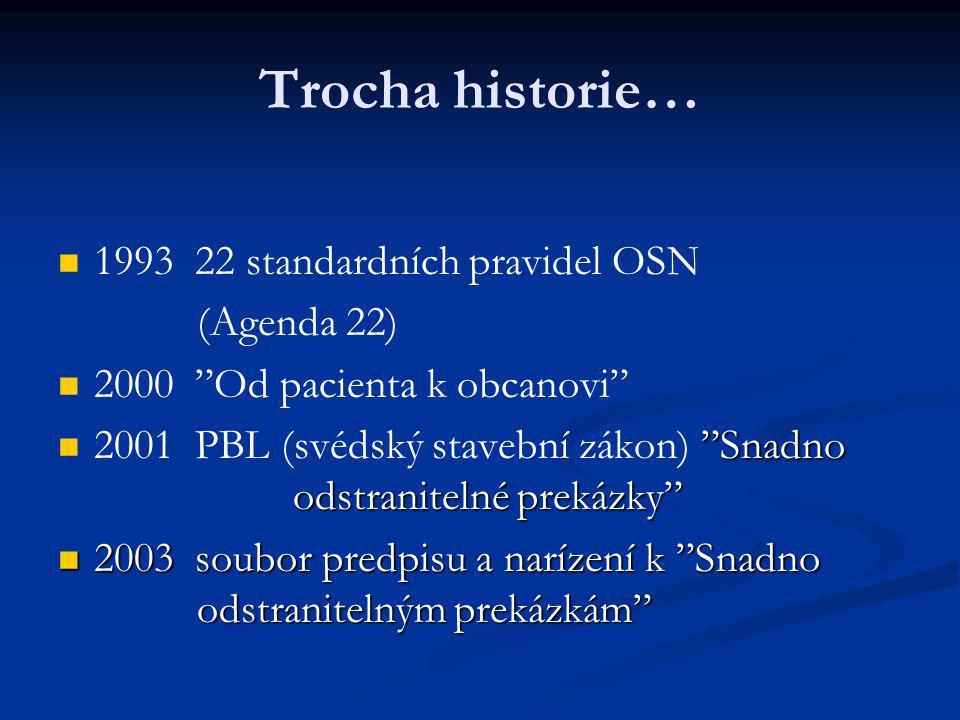 """Trocha historie… 1993 22 standardních pravidel OSN (Agenda 22) 2000 """"Od pacienta k obcanovi"""" """"Snadno odstranitelné prekázky"""" 2001 PBL (svédský stavebn"""