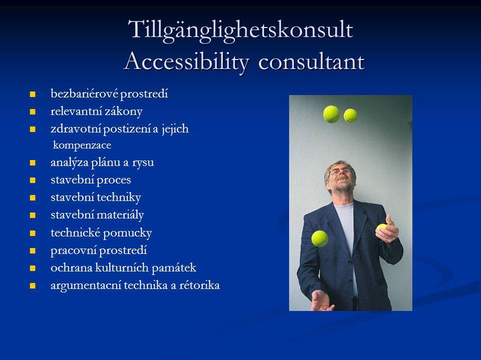 Accessibility consultant Tillgänglighetskonsult Accessibility consultant bezbariérové prostredí relevantní zákony zdravotní postizení a jejich kompenz