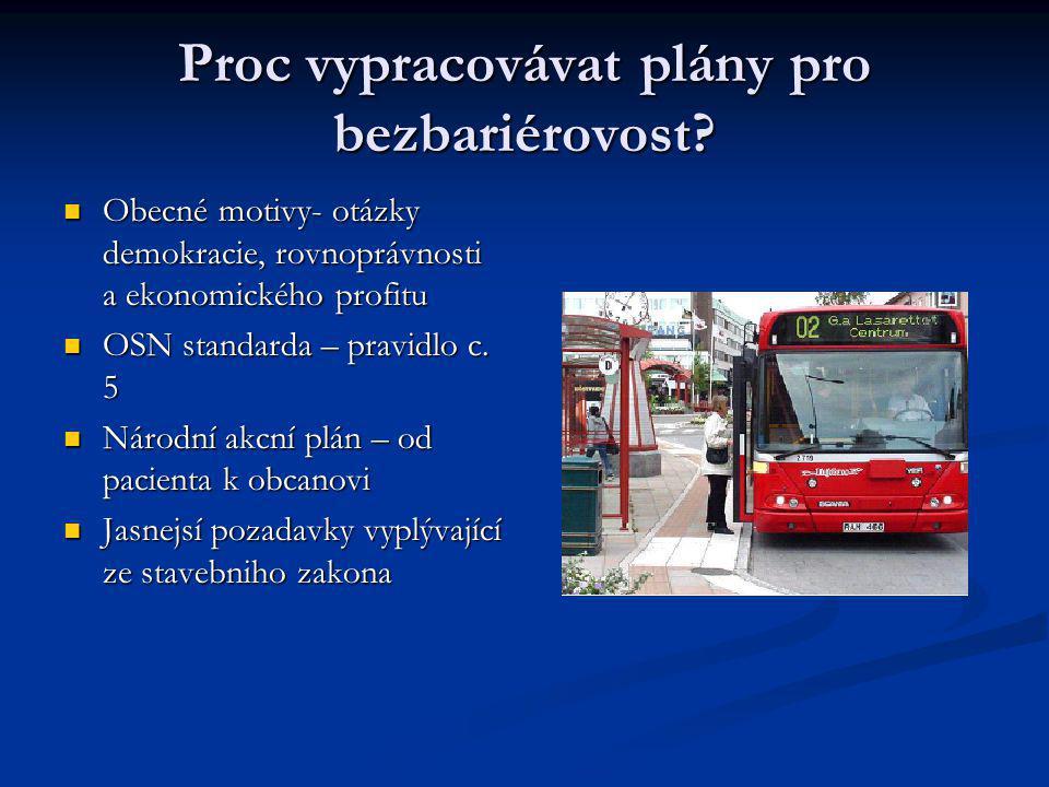 Ocekavané efekty a vyuzívání plánu Co ocekáváme: Zvýseni dostupnosti Zvýseni dostupnosti Dosazitelnost kolektivní dopravy Dosazitelnost kolektivní dopravy Zvýsená dopravní bezpecnost Zvýsená dopravní bezpecnost Zvýsená vseobecná bezpecnost Zvýsená vseobecná bezpecnost Co zbývá udelat: Kazdorocní vyhodnocování a aktualizace plánu Ovlivnovani dalsích aktéru (napriklad majitelu nemovitostí s cílem zpristupnení vchodu a pozemku) Dopravní prostredky ve meste musí být bezbarierové