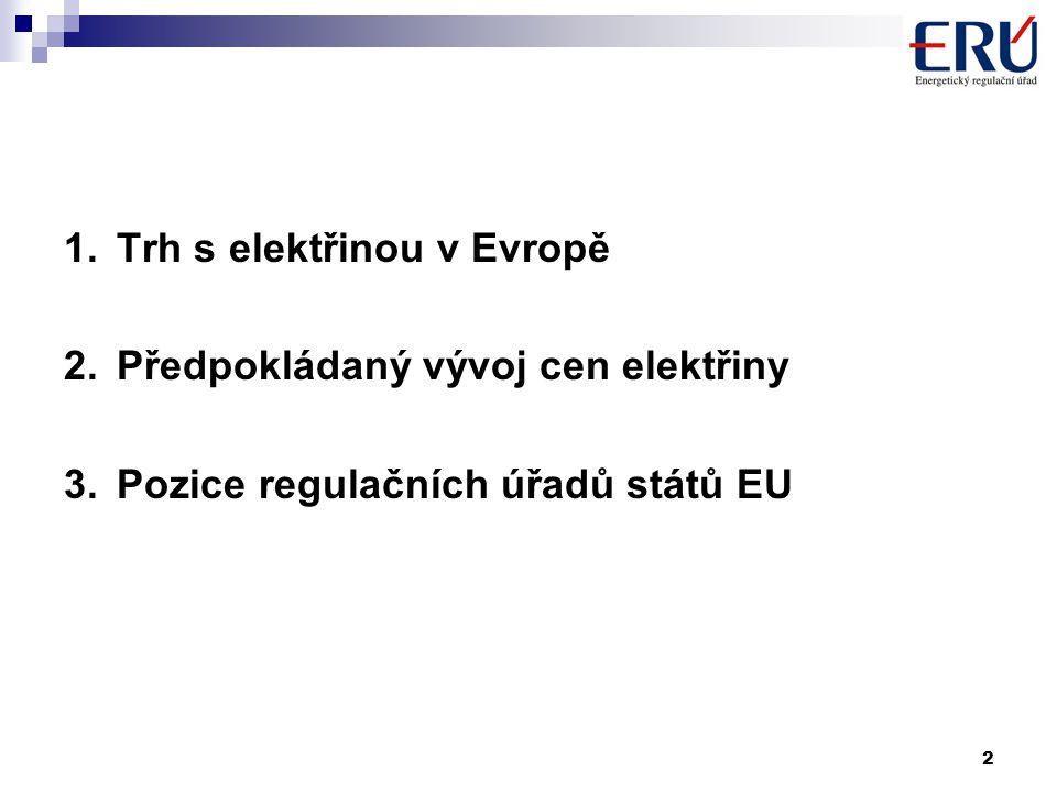 2 1.Trh s elektřinou v Evropě 2.Předpokládaný vývoj cen elektřiny 3.Pozice regulačních úřadů států EU