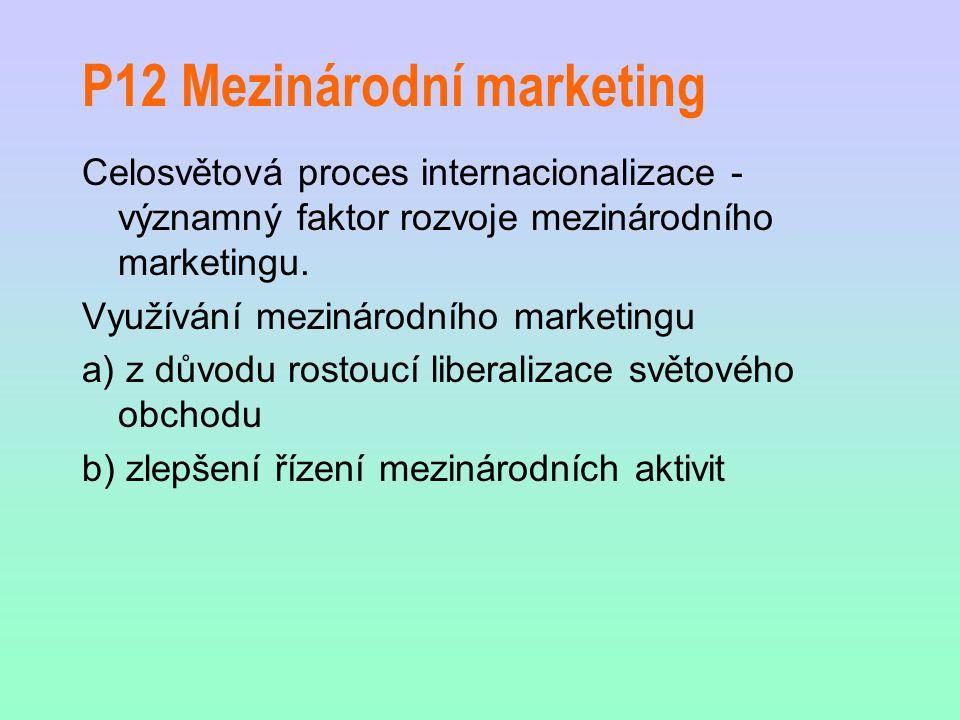P12 Mezinárodní marketing Celosvětová proces internacionalizace - významný faktor rozvoje mezinárodního marketingu.