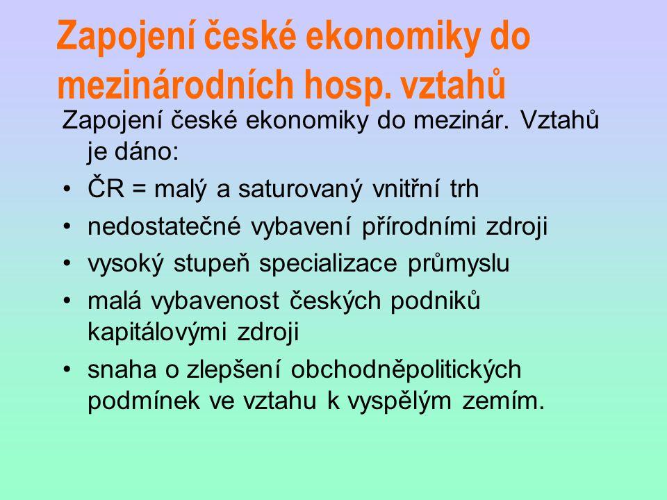 Zapojení české ekonomiky do mezinárodních hosp. vztahů Zapojení české ekonomiky do mezinár.