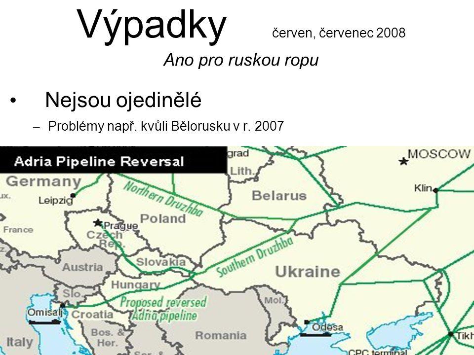 Výpadky červen, červenec 2008 Ano pro ruskou ropu Nejsou ojedinělé – Problémy např.