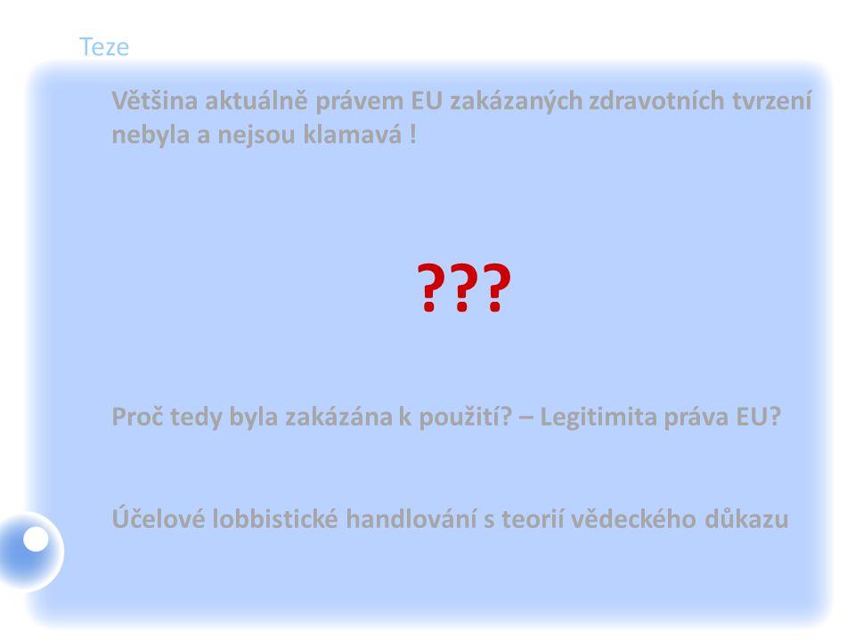 Teze Většina aktuálně právem EU zakázaných zdravotních tvrzení nebyla a nejsou klamavá ! ??? Proč tedy byla zakázána k použití? – Legitimita práva EU?