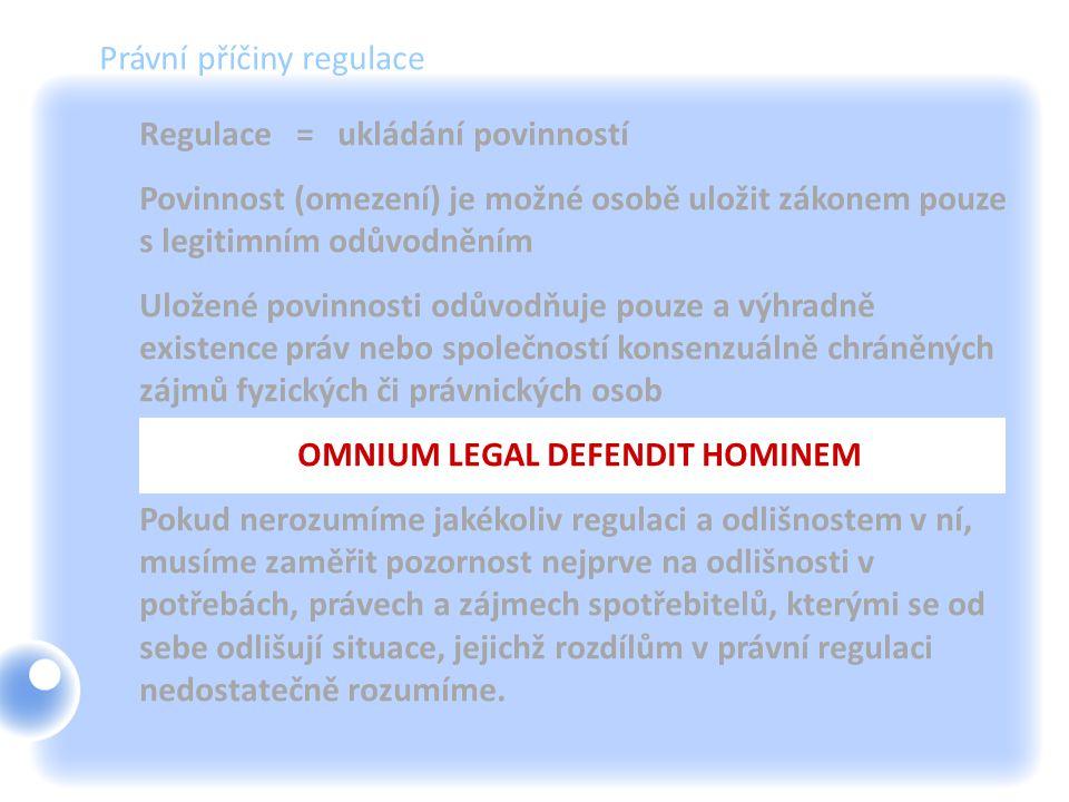 Právní příčiny regulace Regulace = ukládání povinností Povinnost (omezení) je možné osobě uložit zákonem pouze s legitimním odůvodněním Uložené povinn