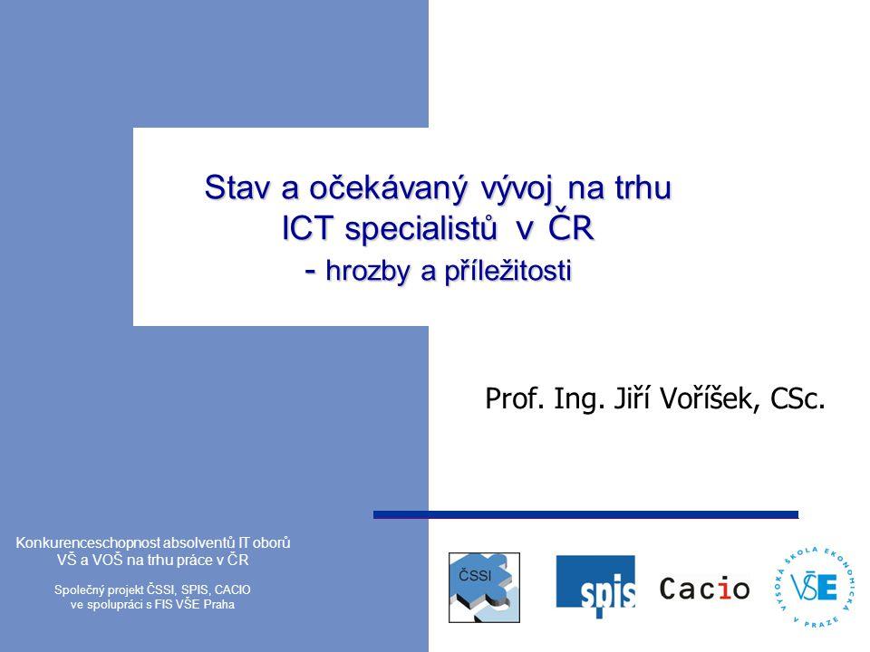Stav a očekávaný vývoj na trhu ICT specialistů v ČR - hrozby a příležitosti Prof. Ing. Jiří Voříšek, CSc. Konkurenceschopnost absolventů IT oborů VŠ a