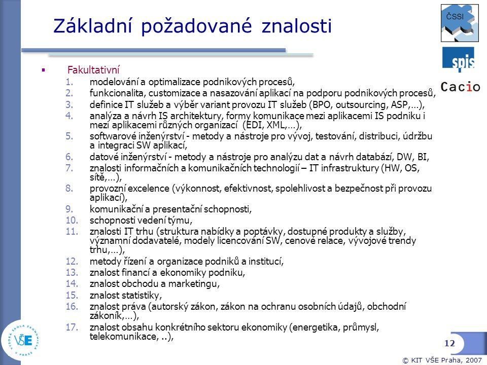 © KIT VŠE Praha, 2007 Základní požadované znalosti  Fakultativní 1.modelování a optimalizace podnikových procesů, 2.funkcionalita, customizace a nasa