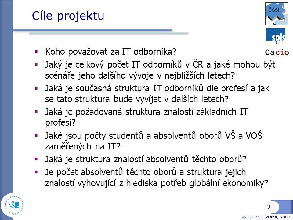 © KIT VŠE Praha, 2007 3 Cíle projektu  Koho považovat za IT odborníka?  Jaký je celkový počet IT odborníků v ČR a jaké mohou být scénáře jeho dalšíh