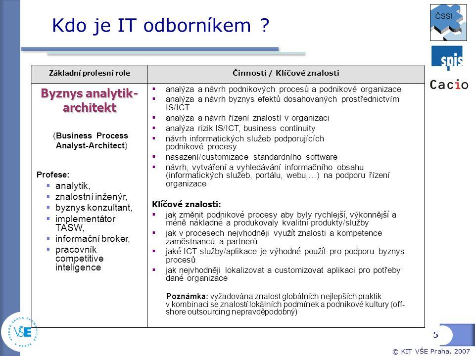 © KIT VŠE Praha, 2007 Kdo je IT odborníkem ? Základní profesní role Činnosti / Kl í čov é znalosti Byznys analytik- architekt (Business Process Analys