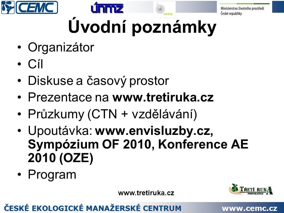 Úvodní poznámky Organizátor Cíl Diskuse a časový prostor Prezentace na www.tretiruka.cz Průzkumy (CTN + vzdělávání) Upoutávka: www.envisluzby.cz, Sympózium OF 2010, Konference AE 2010 (OZE) Program ČESKÉ EKOLOGICKÉ MANAŽERSKÉ CENTRUM www.cemc.cz www.tretiruka.cz