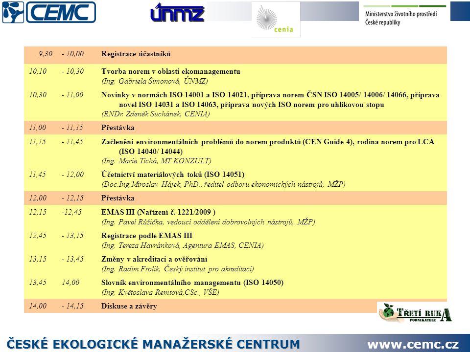 9,30- 10,00Registrace účastníků 10,10- 10,30Tvorba norem v oblasti ekomanagementu (Ing.