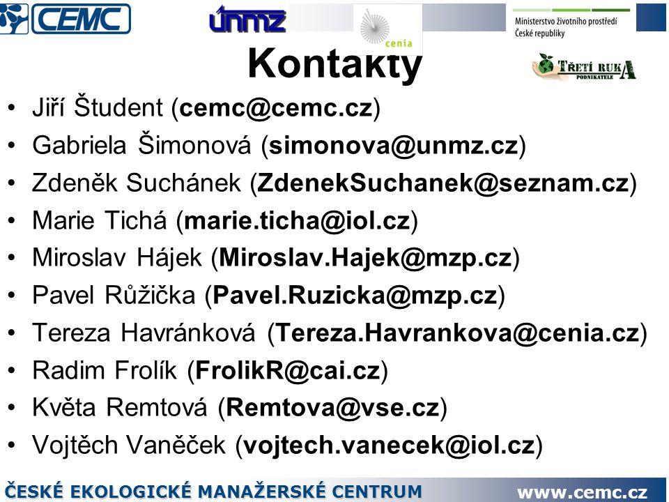 Kontakty Jiří Študent (cemc@cemc.cz) Gabriela Šimonová (simonova@unmz.cz) Zdeněk Suchánek (ZdenekSuchanek@seznam.cz) Marie Tichá (marie.ticha@iol.cz) Miroslav Hájek (Miroslav.Hajek@mzp.cz) Pavel Růžička (Pavel.Ruzicka@mzp.cz) Tereza Havránková (Tereza.Havrankova@cenia.cz) Radim Frolík (FrolikR@cai.cz) Květa Remtová (Remtova@vse.cz) Vojtěch Vaněček (vojtech.vanecek@iol.cz) ČESKÉ EKOLOGICKÉ MANAŽERSKÉ CENTRUM www.cemc.cz