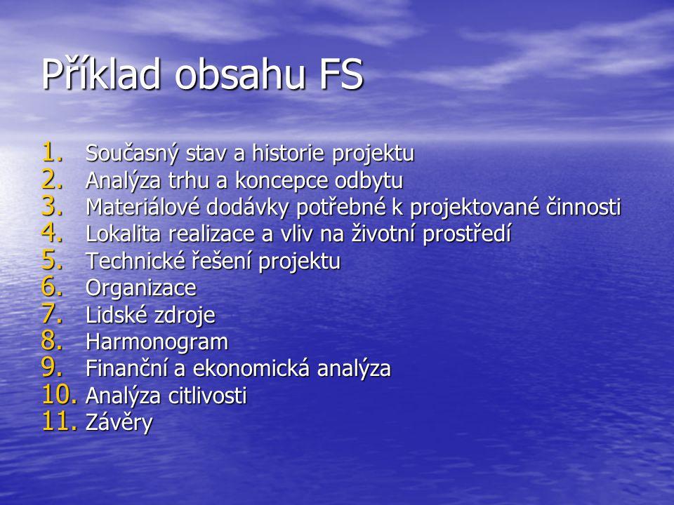 Příklad obsahu FS 1. Současný stav a historie projektu 2.