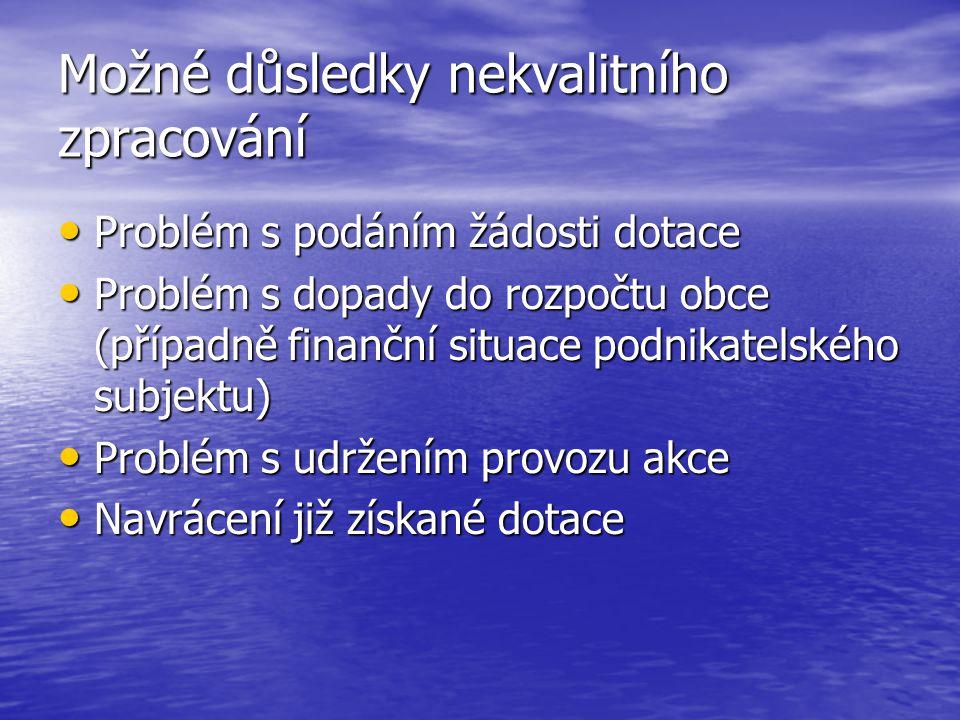Možné důsledky nekvalitního zpracování Problém s podáním žádosti dotace Problém s podáním žádosti dotace Problém s dopady do rozpočtu obce (případně finanční situace podnikatelského subjektu) Problém s dopady do rozpočtu obce (případně finanční situace podnikatelského subjektu) Problém s udržením provozu akce Problém s udržením provozu akce Navrácení již získané dotace Navrácení již získané dotace