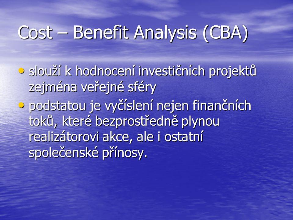 Cost – Benefit Analysis (CBA) slouží k hodnocení investičních projektů zejména veřejné sféry slouží k hodnocení investičních projektů zejména veřejné sféry podstatou je vyčíslení nejen finančních toků, které bezprostředně plynou realizátorovi akce, ale i ostatní společenské přínosy.