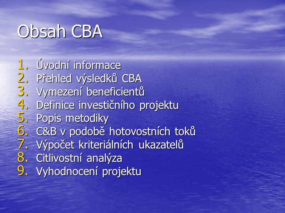 Obsah CBA 1. Úvodní informace 2. Přehled výsledků CBA 3.