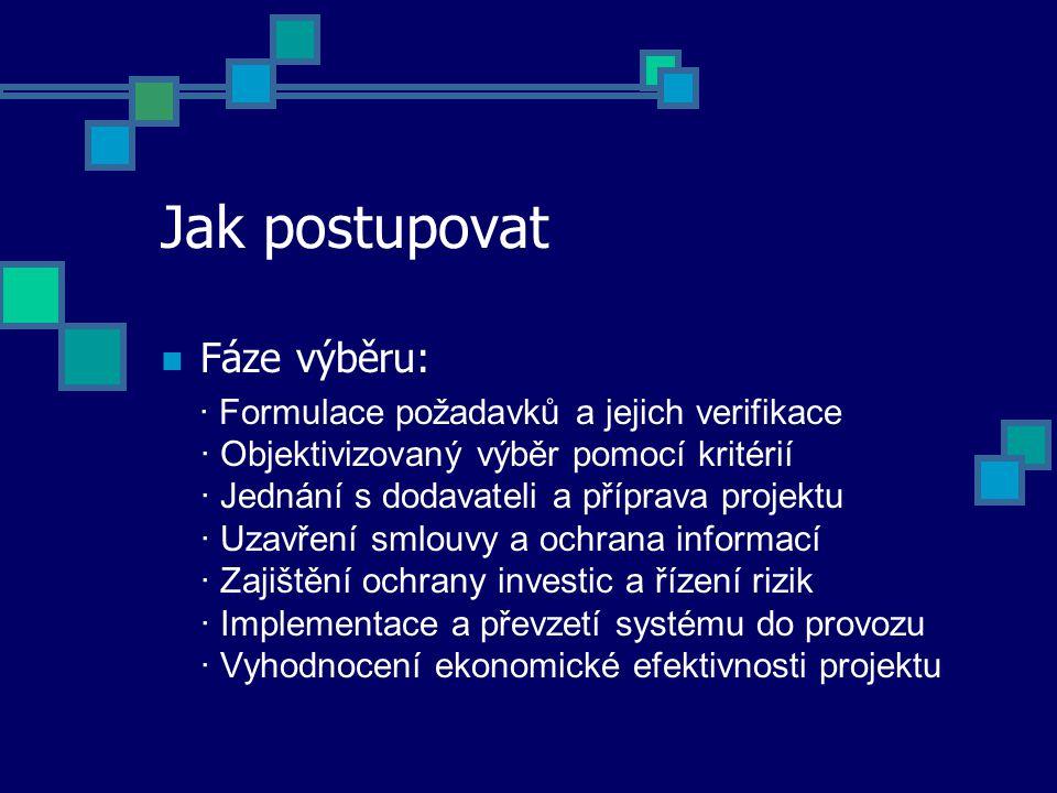 Jak postupovat Fáze výběru: · Formulace požadavků a jejich verifikace · Objektivizovaný výběr pomocí kritérií · Jednání s dodavateli a příprava projektu · Uzavření smlouvy a ochrana informací · Zajištění ochrany investic a řízení rizik · Implementace a převzetí systému do provozu · Vyhodnocení ekonomické efektivnosti projektu