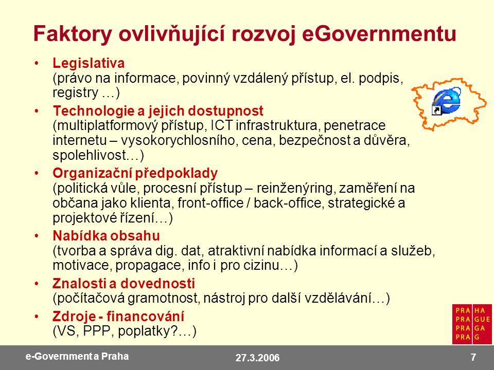 27.3.2006 18 e-Government a Praha Nebo přijďte… ISSS 2006, 3.-4.4.2006, Hradec Králové, www.isss.cz Open Government 2006 (součást Linux Expo), 10.-11.4.2006 Praha - hotel Čechie, www.micr.cz Eastern Europe eGovernment Days, 20.-21.4.2006, Praha, část na MHMP, www.epma.cz Městský rok informatiky, 25.-26.5.2006, Plzeň, www.egovernment.cz Systémová integrace 2006, 11.-13.6.