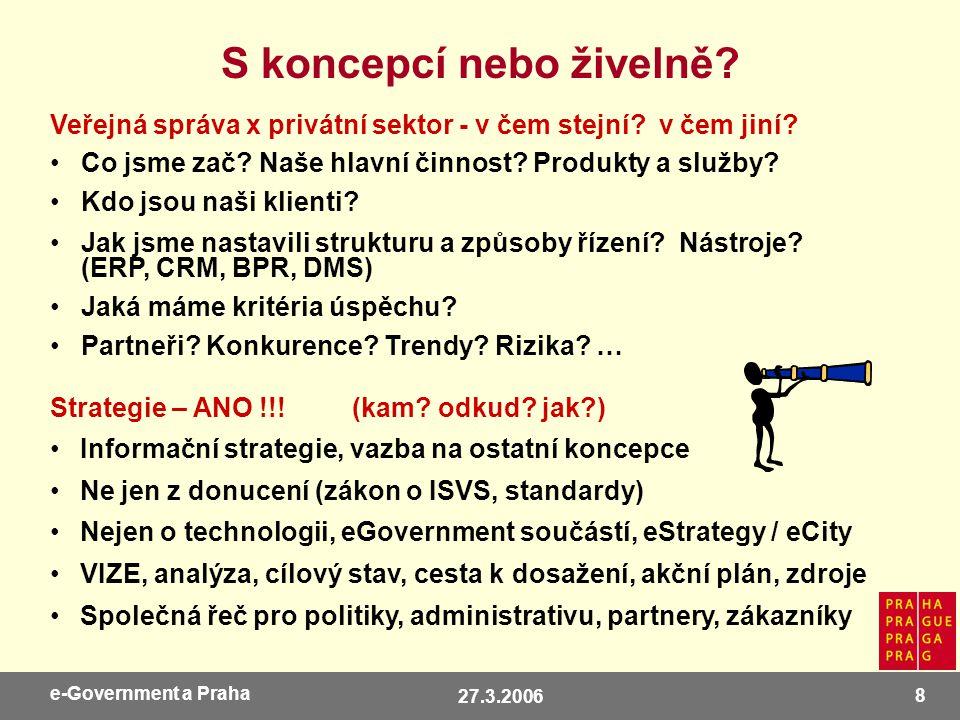 27.3.2006 9 e-Government a Praha + Profesní asociace: CAGI, CACIO, SPIS, CSSI a další Sami nebo společně.