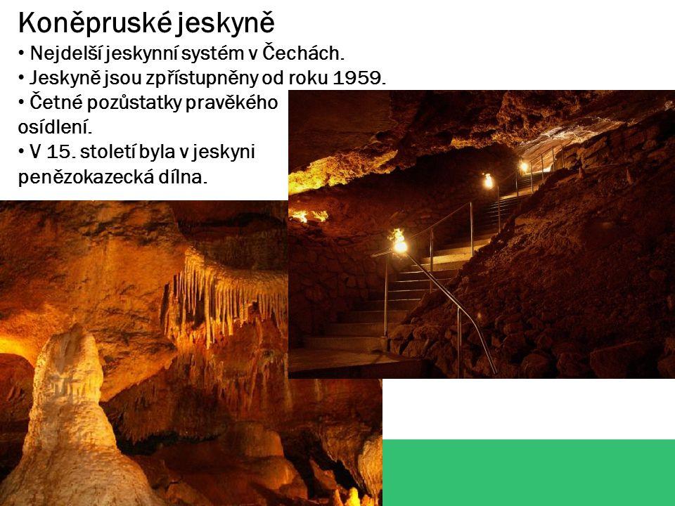 Koněpruské jeskyně Nejdelší jeskynní systém v Čechách.
