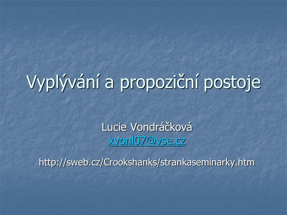 Vyplývání a propoziční postoje Lucie Vondráčková xvonl07@vse.cz http://sweb.cz/Crookshanks/strankaseminarky.htm