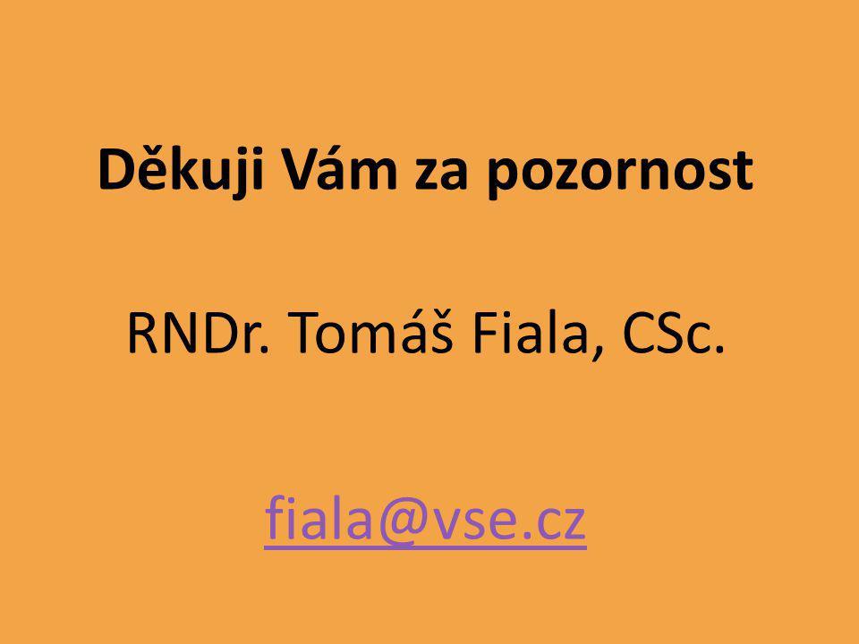 Děkuji Vám za pozornost RNDr. Tomáš Fiala, CSc. fiala@vse.cz