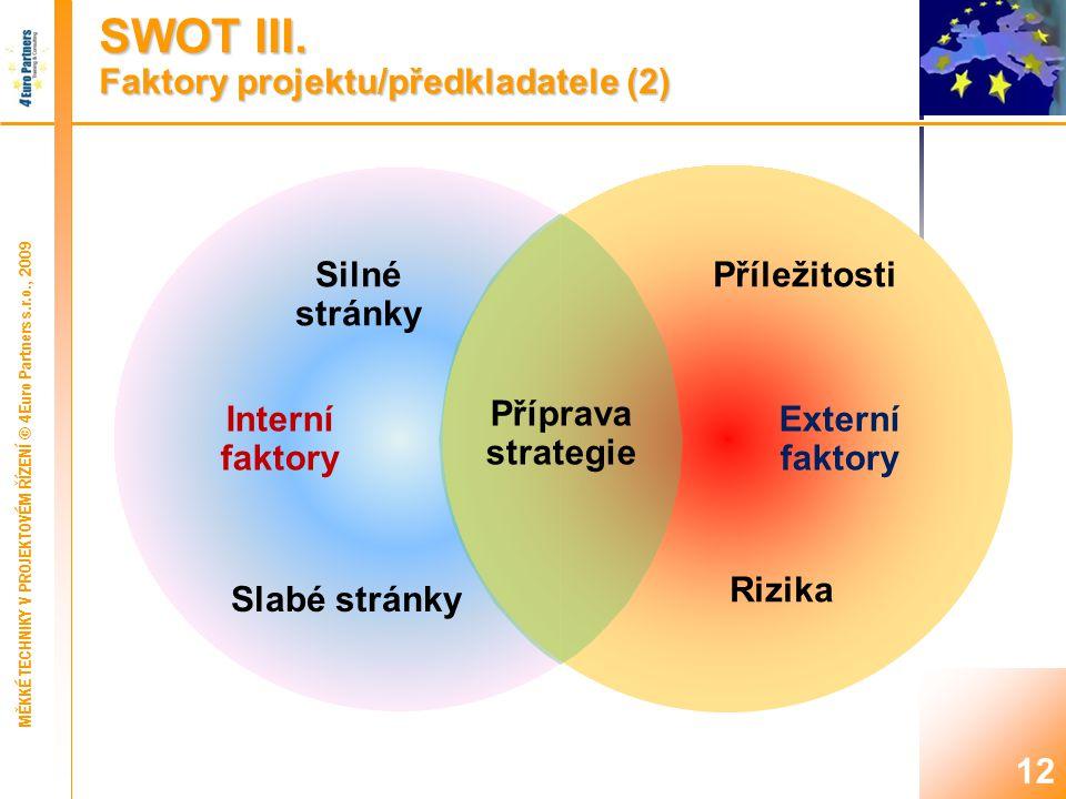 12 Externí faktory Příprava strategie Interní faktory Silné stránky Příležitosti Slabé stránky Rizika SWOT III.
