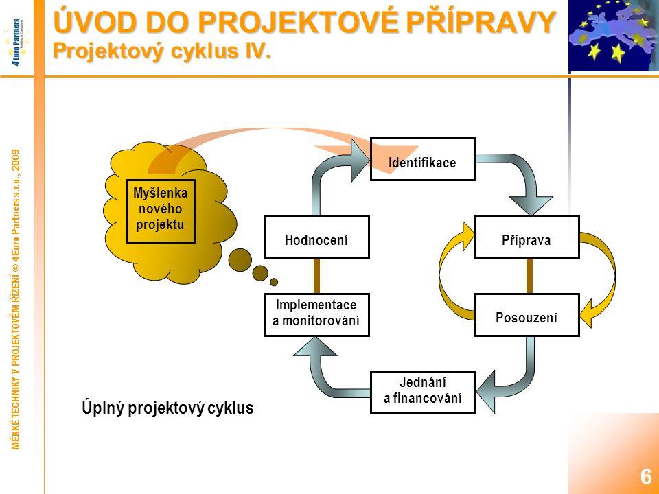 6 ÚVOD DO PROJEKTOVÉ PŘÍPRAVY Projektový cyklus IV.