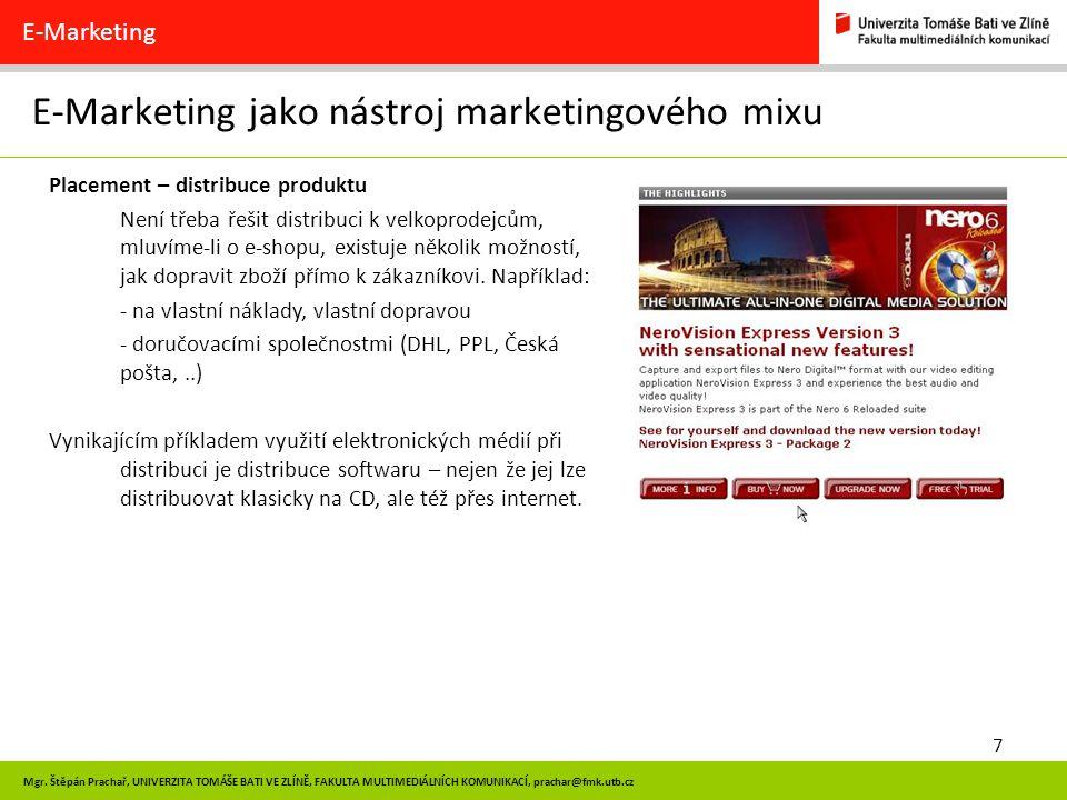 58 E-Marketing Hodnocení webových prezentací UNIVERZITA TOMÁŠE BATI VE ZLÍNĚ, FAKULTA MULTIMEDIÁLNÍCH KOMUNIKACÍ
