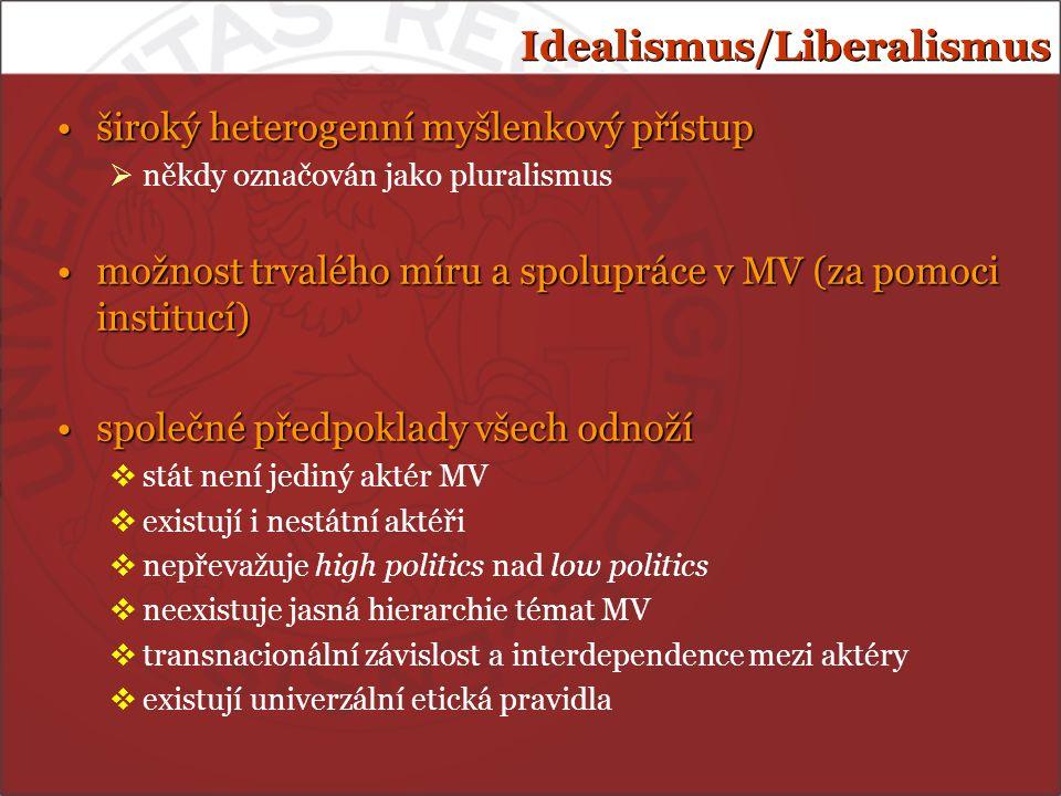 Idealismus/Liberalismus široký heterogenní myšlenkový přístupširoký heterogenní myšlenkový přístup  někdy označován jako pluralismus možnost trvalého