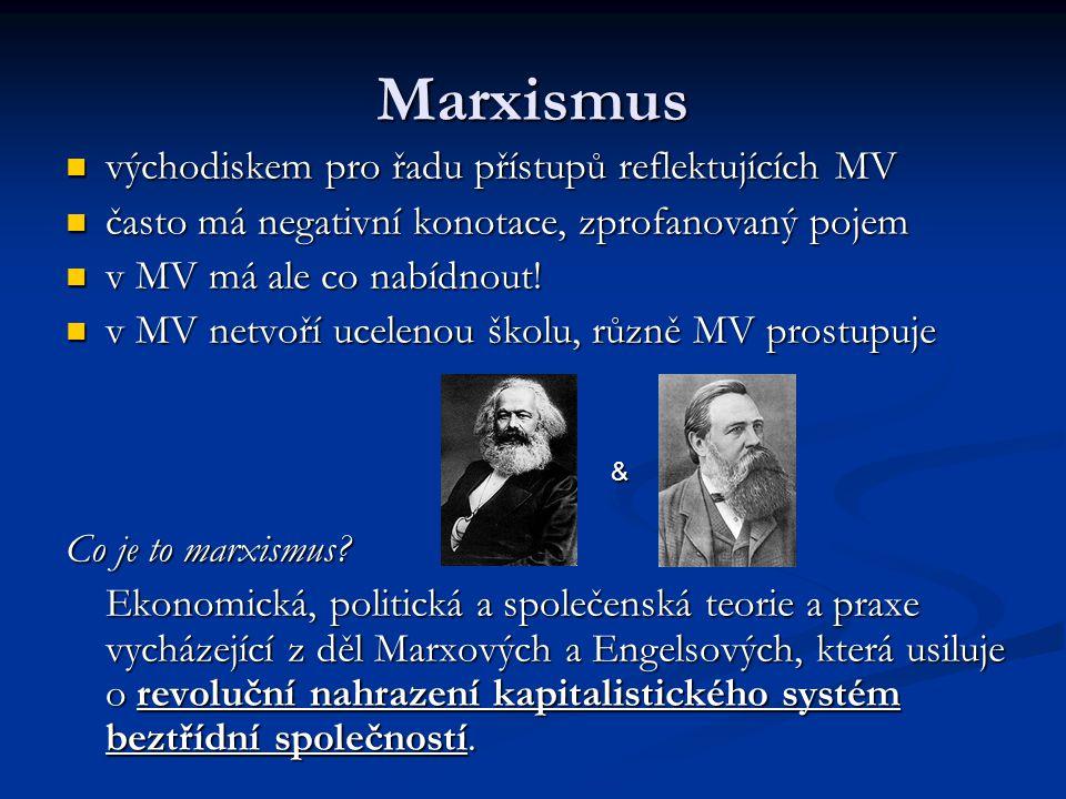 Marxismus východiskem pro řadu přístupů reflektujících MV východiskem pro řadu přístupů reflektujících MV často má negativní konotace, zprofanovaný po