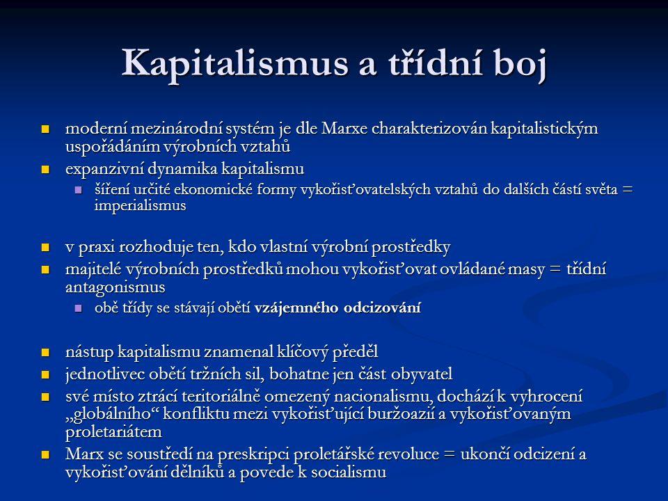 Kapitalismus a třídní boj moderní mezinárodní systém je dle Marxe charakterizován kapitalistickým uspořádáním výrobních vztahů moderní mezinárodní sys