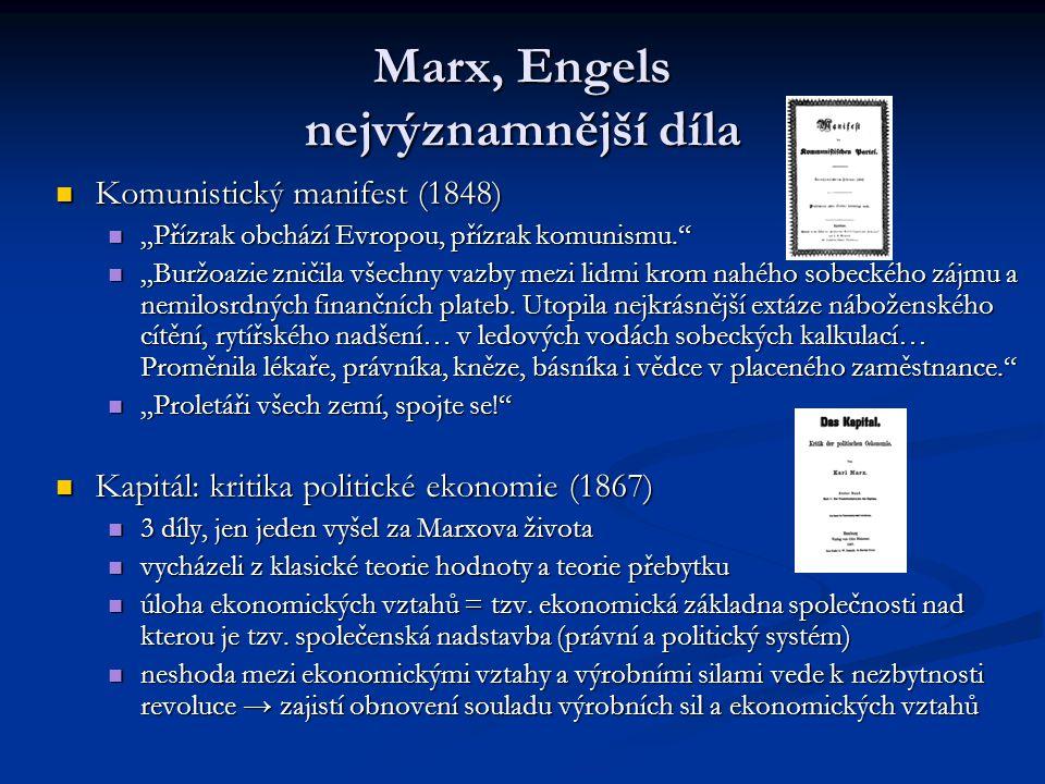 """Marx, Engels nejvýznamnější díla Komunistický manifest (1848) Komunistický manifest (1848) """"Přízrak obchází Evropou, přízrak komunismu."""" """"Přízrak obch"""