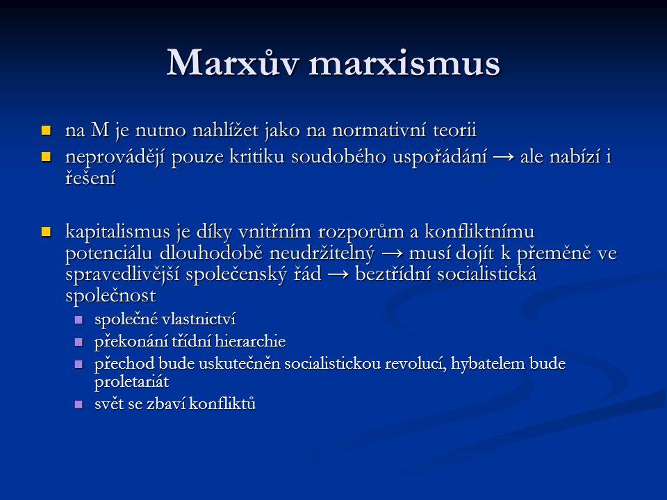 Marxův marxismus na M je nutno nahlížet jako na normativní teorii na M je nutno nahlížet jako na normativní teorii neprovádějí pouze kritiku soudobého