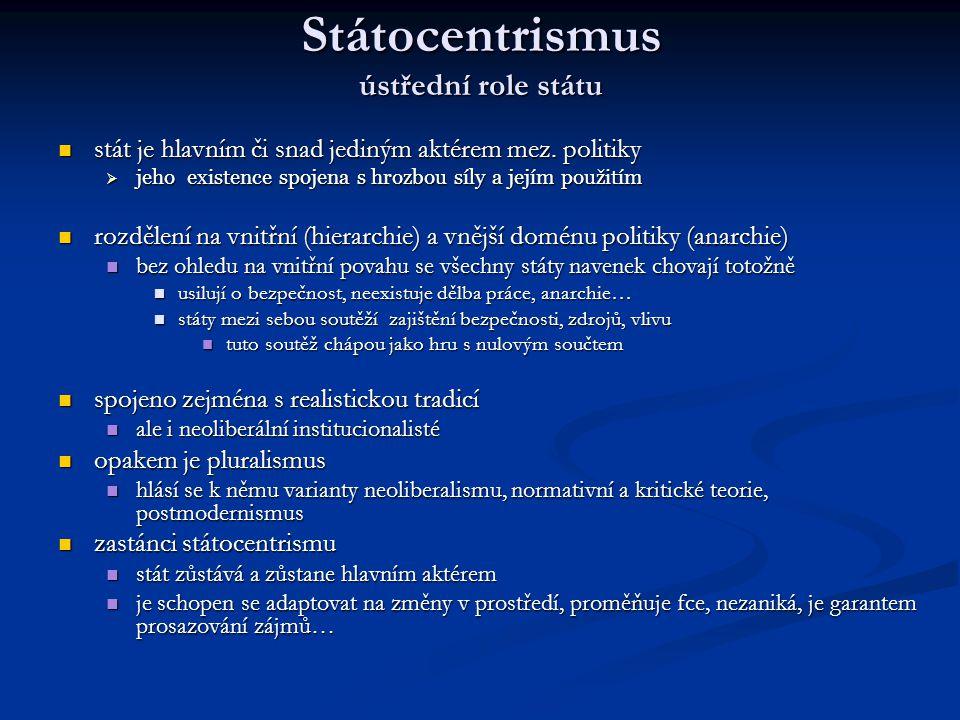 Státocentrismus ústřední role státu stát je hlavním či snad jediným aktérem mez. politiky stát je hlavním či snad jediným aktérem mez. politiky  jeho
