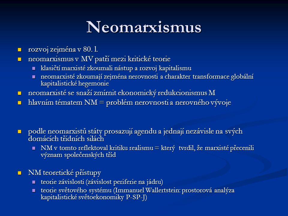 Neomarxismus rozvoj zejména v 80. l. rozvoj zejména v 80. l. neomarxismus v MV patří mezi kritické teorie neomarxismus v MV patří mezi kritické teorie