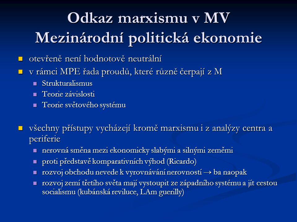 Odkaz marxismu v MV Mezinárodní politická ekonomie otevřeně není hodnotově neutrální otevřeně není hodnotově neutrální v rámci MPE řada proudů, které