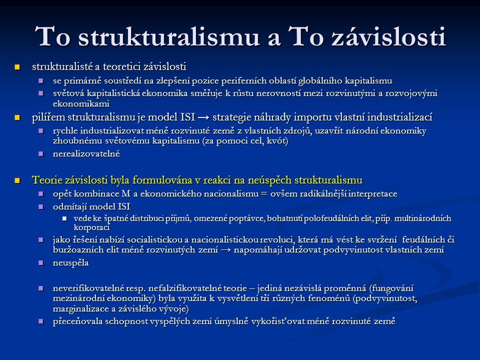 To strukturalismu a To závislosti strukturalisté a teoretici závislosti strukturalisté a teoretici závislosti se primárně soustředí na zlepšení pozice