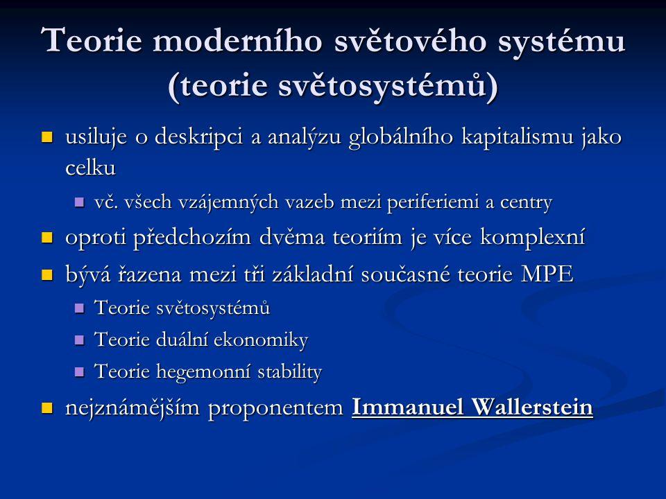Teorie moderního světového systému (teorie světosystémů) usiluje o deskripci a analýzu globálního kapitalismu jako celku usiluje o deskripci a analýzu