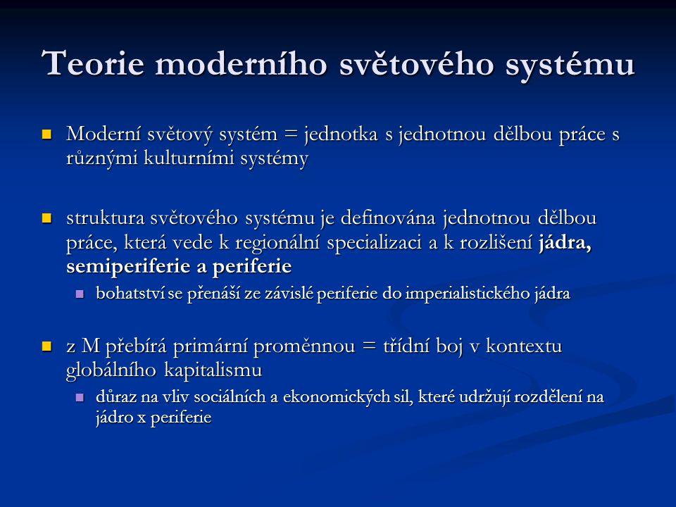 Teorie moderního světového systému Moderní světový systém = jednotka s jednotnou dělbou práce s různými kulturními systémy Moderní světový systém = je