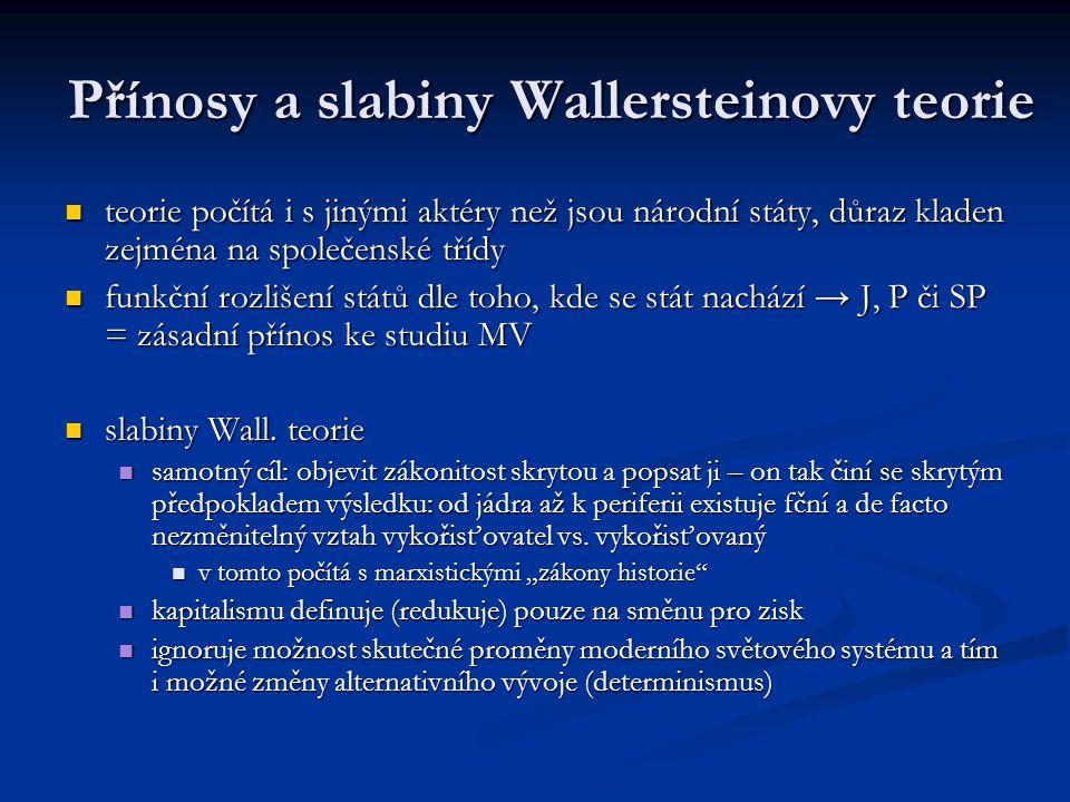 Přínosy a slabiny Wallersteinovy teorie teorie počítá i s jinými aktéry než jsou národní státy, důraz kladen zejména na společenské třídy teorie počít